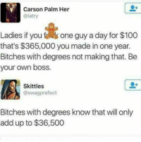 Memes, 🤖, and Skittles: Carson Palm Her  (alatry  Ladies if you one guy a day for $100  that's $365,000 you made in one year.  Bitches with degrees not making that. Be  your own boss  Skittles  @swag prefect  Bitches with degrees know that will only  add up to $36,500
