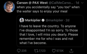 "me ✈️ irl: Carson @ PAX West @CallMe Carso... 1d  when you accidentally say ""you too"" when  the waiter says to enjoy your meal  Markiplier@markiplier 2d  I have to leave the country. To anyone  I've disappointed I'm so sorry. To those  that I love, I will miss you dearly. Please  remember me for who I was and not  what I've become.  235  t7123  57.5K me ✈️ irl"