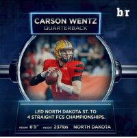 """With the No. 2 pick, the Philadelphia Eagles select QB Carson Wentz out of North Dakota State: CARSON WENTZ  QUARTERBACK  LED NORTH DAKOTA ST. TO  4 STRAIGHT FCS CHAMPIONSHIPS.  HEIGHT 6'5"""" WEIGH  237lbs NORTH DAKOTA  br With the No. 2 pick, the Philadelphia Eagles select QB Carson Wentz out of North Dakota State"""