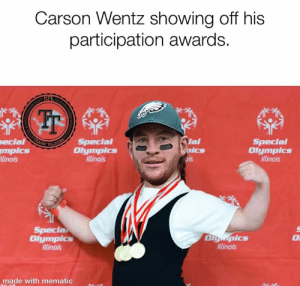 Memes, Nfl, and Working Out: Carson Wentz showing off his  participation awards.  NFL  ARASH  ial  Boics  ois  ecial  mpics  linois  Special  Olympics  llinois  Special  Olympics  nlinois  TALKERA.  Special  Olgmpics  Illinois  Olympics  linois  made with mematic He's been working out.   #StafFordField