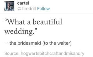 """Beautiful, Wedding, and Shame: cartel  firedrill Follow  """"What a beautiful  wedding  35  the bridesmaid (to the waiter)  Source: hogwartsbitchcraftandmisandry What a shame"""