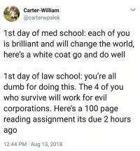 Being a lawyer is a tough job, so hopefully these memes can help you relax a little with some comedy! #LawyerJokes #LawyerMemes #FunnyMemes #FunnyTweets: Carter-William  @carterwpalek  1st day of med school: each of you  is brilliant and will change the world,  here's a white coat go and do well  1st day of law school: you're all  dumb for doing this. The 4 of you  who survive will work for evil  corporations. Here's a 100 page  reading assignment its due 2 hours  ago  12:44 PM Aug 13, 2018 Being a lawyer is a tough job, so hopefully these memes can help you relax a little with some comedy! #LawyerJokes #LawyerMemes #FunnyMemes #FunnyTweets