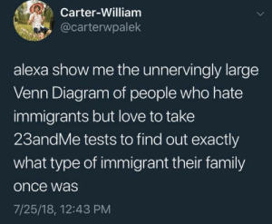 Family, Love, and Utah: Carter-William  @carterwpalek  alexa show me the unnervingly large  Venn Diagram of people who hate  immigrants but love to take  23andMe tests to find out exactly  what type of immigrant their family  once was  7/25/18, 12:43 PM I'm looking at you, Utah family.
