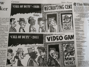 "I think my history teacher is a boomer, he hands this out in class today: Cartoon  Steve Nease  The New  ""CALL OF DUTY'-1939  ker  RECRUITING CENT  The Mississauga News invites rear  express their opinions in Leders to  tor. Submissions must not be long  350 words. We reserve the right to  letters must include your first and la  address and telephone number.  Letters to the Editor should be s  The Mississauga News,  3145 Wolfedale Rd.  Mississauga, ON, L5C 3A  E-mail: gtimbers@mississau  Fax: 905-277-0146  NEASE  do a great deal of  g other points of  cks them to learn  ints of vieu""  ley  universal job  osition of pol-  nost desirable  didate would  ick skin.  rue in today's  anonymous  ruthless.  hat civil dis-  cussion has  pewriter.  tary from  s has gone  est. Shoot  PUBLISHER  Ken Nugent  knugent@melroland.com  905-  FA  GENERAL MANAGER  Rob Leuschner  deuschner@metroland.com  ENLIST  HERE!  EDITORIAL  gtirmbers@mississauga.net  Managing Editor  Gery Timbers  Assignment Editor  John Stewart  ADMINISTRATION  psheehan@mississauga.net  Director  Phil Sheehan  Supervisor, Administration  Yiyu Zhao  'CALL OF DUTY' -2011  DISTRIBUTION  VIDEO GAM  Director Distribution/Circulation  Jason Christie  Circulation Manager  Scolt Cottrell  DISPLAY ADVERTISING  missyads@mississauga.net  Sales Managers  Roy Enman  Keilh Henderson  Assistant Manager, Inside Sales  Clara Ritchie  neasecartoans Smailn  CLASSIFIED  classads @mississauga.net  journalist  as the sec-  Classified Sales Manager  Teresa DeLuca  Sales Supervisor  Maisa Salhia  Advertising Co-ordinator  Trina Christie  Buckley  rurbing,  litician's  his most  ction.  ccasion,  PP Bob  REAL ESTATE  sald@mississauga.net  MWB  HERE!  Advertising Wanager  John Armstrong  The Mississauga News is  and Friday. Mississauga Th  Thursday. All publications  Wolfedale Rd, Mississaug  Mississauga News is par  Group Ltd., a subsidiary of  use the I think my history teacher is a boomer, he hands this out in class today"