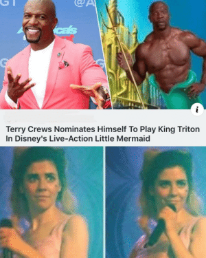 Terry would do a great job by GallowBoob MORE MEMES: cas  i  Terry Crews Nominates Himself To Play King Triton  In Disney's Live-Action Little Mermaid Terry would do a great job by GallowBoob MORE MEMES