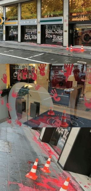 "Amazon, Target, and Tumblr: CASA DO BRASIL  BOLSONA  Ro ECOCIP  ECOGIDE  BOLSON  350   CHOO radicalgraff:   The Brazilian embassy in Brussels was vandalised on September 5th 2019  with red paint and sprayed with slogans such as: ""Love the Amazon /  Ecocide = Bolsonaro / Bolsonaro = Ecocide"""