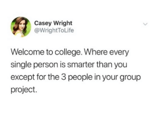 3 People: Casey Wright  @WrightToLife  Welcome to college. Where every  single person is smarter than you  except for the 3 people in your group  project.