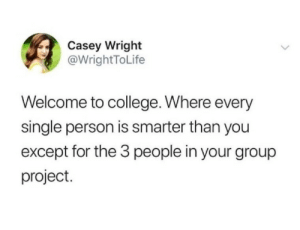 Dumperoni: Casey Wright  @WrightToLife  Welcome to college. Where every  single person is smarter than you  except for the 3 people in your group  project. Dumperoni