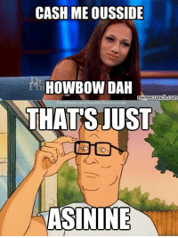 asinine: CASH MEIOUSSIDE  HOWBOW DAH  memecrunch.com  Facebook CO  too  THATS JUST  ASININE
