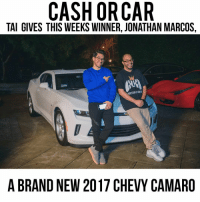 His insta is @kustomkontrollerz - This is a pic from last week. I'm picking a new winner tonight.: CASH OR CAR  TAI GIVES THIS WEEKS WINNER, JONATHAN MARCOS,  A BRAND NEW 2017 CHEVY CAMARO His insta is @kustomkontrollerz - This is a pic from last week. I'm picking a new winner tonight.