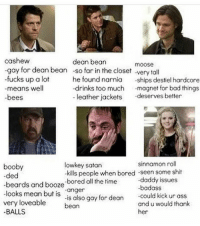"Beard, Boobies, and Bored: cashew  dean bean  moose  -gay for dean bean -so far in the closet very tall  -fucks up a lot  he found narnia  ships destiel hardcore  drinks too much  magnet for bad things.  means well  leather jackets  deserves better  -bees  sinnamon roll  lowkey satan  booby  -kills people when bored -seen some shit  -ded  -daddy issues  beards and booze  -bored all the  time  looks mean but is  ""anger  could kick ur ass  very is also gay for dean  and u would thank  loveable  bean  BALLS  her Lol lowkey satan sounds like me -t"