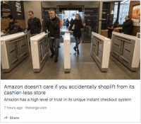 Amazon, Creepy, and Haircut: cashier-less store  Amazon has a high level of trust in its unique instant checkout system  7 hours ago theverge.com  Share putinyoudown:  thisurlwasnttakenbutnowitis:  soandsuch:  war-lesbian: good news everybody  In this store, you go in, shop, and then walk out carrying the item's you want to buy, and their facial recognition software figures out who you are and charges whatever items you are taking to your account. It's incredible and creepy.  *Walks into the store with anti-facial recognition haircut/makeup and leaves like a bandit*  the cyberpunk dystopia is upon us and it fuckin sucks