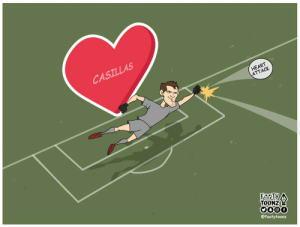 Memes, Heart, and 🤖: CASILLAS  HEART  ATTACK  TOONZ  @footytoonz What a save by Casillas. (📷: @FootyToonz ) https://t.co/wxyKTNqiHq