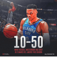Russell Westbrook's shooting woes continue 👀 — @thundernation_okc @betonline_ag: 'CASINO RIVERWİNDACASİNO  CITY  49  10-50  6:0  WHAT RUSSELL WESTBROOK HAS SHOT  IN 2 GAMES VS. LAKERS THIS SEASON  CLU  TS  BETONLINE AG Russell Westbrook's shooting woes continue 👀 — @thundernation_okc @betonline_ag