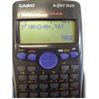 True, Sto, and Cos: CASIO  GT PLUS  -UP.AM  TRUE  ON  HIFT AUPHA  MODE SETUP  10 e  A FACT B  C sin1 D cos E tan F  STO  OFF