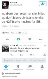 Dank, Fucking, and Isis: Caspar  @malouficent.  we didn't blame germans for hitler,  we don't blame christians for kkk,  do NOT blame muslims for ISIS  2015-11-13, 7:21 PM  1,638  RETWEETS  763  LIKES  x Isabel x  @Love Caroline S  4h  @malouficent Ca aesthetelwt  THANK YOU THIS  Reply to caspar, danil #prayforparis  Home Notifications  Messages  Me  brothers-overs babymama  this is so fucking important
