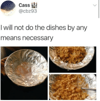 Memes, Shit, and 🤖: Cass ta  @cbz93  I will not do the dishes by any  means necessary u could miss me w- that bull shit