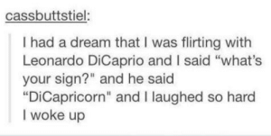 "A Dream, Leonardo DiCaprio, and Tumblr: cassbuttstiel:  I had a dream that I was flirting with  Leonardo DiCaprio and I said ""what's  your sign?"" and he said  ""DiCapricorn"" and I laughed so hard  I woke up He should win an oscar for that"