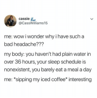 Bad, Wow, and Yeah: cassie  @CassWilliams15  me: wow i wonder why i have such a  bad headache???  my body: you haven't had plain water in  over 36 hours, your sleep schedule is  nonexistent, you barely eat a meal a day  me: *sipping my iced coffee* interesting Hm, yeah I don't know what it is