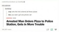 Crime, Phone, and Pizza: castieldeanandsam lawbly  bombing  cop: who the hell ordered all these pizzas  me: you said i got one phone cal  NEWSFEED CRIME  Arrested Man Orders Pizza to Police  Station, Gets in More Trouble  205,387 notes