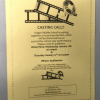 what: CASTING CALL!!  Hogan Middle School is putting  together a musical production, which  will be showcased as an  end-of-the-school year performance.  Please come to auditions.  When/Time: Wednesday January 11th  at 1:00pm  Thursday January 12th at 2:20pm  Where: Auditorium  Singer's will audition their singing talents,  We will have sign-up sheets for any and everyone  interested in acting, dancing and behind-the-scene stage  crew.  Contact: Ms. EMi  707-556-3510 ext: 51446  Evictad valleio kl2.ca.us  after school  or come to main office during break, lunch or what