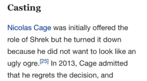Nicolas Cage, Shrek, and Ugly: Casting  Nicolas Cage was initially offered the  role of Shrek but he turned it down  because he did not want to look like an  ugly ogre. 25 In 2013, Cage admitted  that he regrets the decision, and