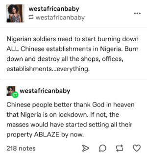Casual call for genocide against the Chinese in Nigeria because....Chinese in China are racist?: Casual call for genocide against the Chinese in Nigeria because....Chinese in China are racist?