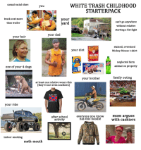 meth mouth: casual racial slurs  WHITE TRASH CHILDHOOD  STARTERPACK  you  truck cost more  than trailer  your  yard  can't go anywhere  without relative  starting a fist fight  your dad  your hair  stained, oversized  Mickey Mouse t-shirt  your diet  HELPER  neglected farm  animal on property  CHeese  one of your 4 dogs  CapCake  your brother  family outing  at least one relative wears this  (they're not even southern)  KISS MY  REBEL ASS  your ride  after school  activity  everyone you know  has this hoodie  mom argues  with cashiers  indoor smoking  meth-mouth