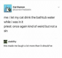 Weird, Water, and Cat: Cat Damon  @CornOnTheGoblin  me: i let my cat drink the bathtub water  while i was in it  priest: once again kind of weird but not a  sin  stability  this made me laugh a lot more than it should've