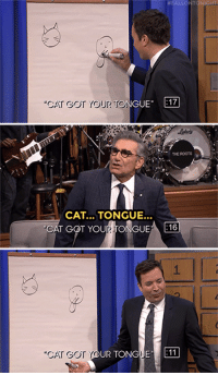 """Target, youtube.com, and Dictionary: CAT GOT YOUR TONGUE  17  THE ROOTS  CAT... TONGUE...  """"CAT GOT YOUR(TONGUEA EO  1  UR TONGUE 11 <h2><b>ICYMI:</b><a href=""""https://www.youtube.com/watch?v=cmVa-4_7m0I"""" target=""""_blank"""">Jimmy and Eugene Levy face- off against Shailene Woodley and Catherine O'Hara in Dictionary!</a></h2>"""