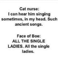 Memes, Boeing, and 🤖: Cat nurse:  I can hear him singing  sometimes, in my head. Such  ancient songs.  Face of Boe:  ALL THE SINGLE  LADIES. All the single  ladies.