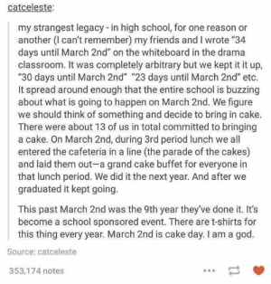 """Friends, God, and Period: catceleste:  my strangest legacy -in high school, for one reason or  another (l can't remember) my friends and I wrote """"34  days until March 2nd"""" on the whiteboard in the drama  classroom. It was completely arbitrary but we kept it it up,  """"30 days until March 2nd"""" """"23 days until March 2nd"""" etc.  It spread around enough that the entire school is buzzing  about what is going to happen on March 2nd. We figure  we should think of something and decide to bring in cake.  There were about 13 of us in total committed to bringing  a cake. On March 2nd, during 3rd period lunch we all  entered the cafeteria in a line (the parade of the cakes)  and laid them out-a grand cake buffet for everyone in  that lunch period. We did it the next year. And after we  graduated it kept going.  This past March 2nd was the 9th year they've done it. It's  become a school sponsored event. There are t-shirts for  this thing every year. March 2nd is cake day. I am a god.  Source: catceleste  353,174 notes"""