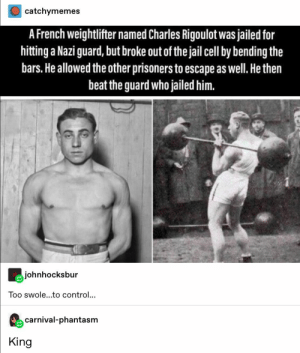 26+ Tumblr Posts That Are More Awesome Than Chocolates #funny #haha #humor #memes #lol #tumblr: catchymemes  A French weightlifter named Charles Rigoulot was jailed for  hitting a Nazi guard, but broke out of the jail cell by bending the  bars.He allowed the other prisoners to escape as well. He then  beat the guard who jailed him.  johnhocksbur  Too swole...to control...  carnival-phantasm  King 26+ Tumblr Posts That Are More Awesome Than Chocolates #funny #haha #humor #memes #lol #tumblr