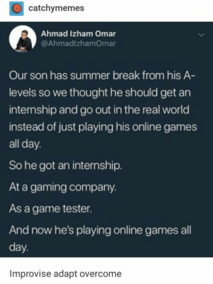 Sounds like a great summer: catchymemes  Ahmad Izham Omar  @AhmadlzhamOmar  Our son has summer break from his A-  levels so we thought he should get an  internship and go out in the real world  instead of just playing his online games  all day.  So he got an internship.  At a gaming company.  As a game tester.  And now he's playing online games al  day  Improvise adapt overcome Sounds like a great summer