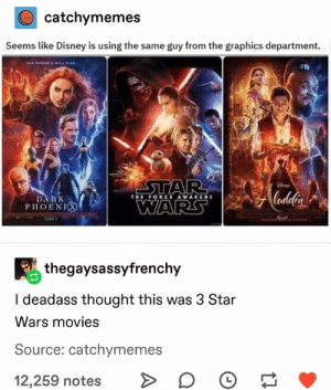 Disney, Movies, and Star Wars: catchymemes  Seems like Disney is using the same guy from the graphics department  STAR Andelir  WARS  THE FORCE AWAKENS  DARK  PHOENIO  thegaysassyfrenchy  I deadass thought this was 3 Star  Wars movies  Source: catchymemes  L  12,259 notes