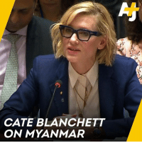 Memes, Help, and International: CATE BLANCHETT  ON MYANMAR Cate Blanchett denounces mass killings in Myanmar and calls for international help.