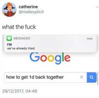 Fbi, Memes, and Fuck: catherine  @niallexplicit  what the fuck  MESSAGES  we've already tried  now  FBI  GOOale  how to get 1d back together  29/12/2017, 04:46 🤣