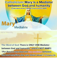 "I love Catholics because God loves them. God wants them to know the truth through Jesus Christ. He is our only mediator. In John 2:5, the last time Mary says anything in the Bible, she said ""Do whatever He tells you."": Catholicism  Mary is a Mediator  between God and humanity  (Catechism of the Catholic Church (CCC) 969)  Mary  Mediatrix  God or Rbsurdity  The Word of God  There is ONLY ONE Mediator  between God and humanityo and it's NOT MARY:  ""For there is one God and one mediator between  God and mankind, the man Christ Jesus. 1 Timothy 2:5) I love Catholics because God loves them. God wants them to know the truth through Jesus Christ. He is our only mediator. In John 2:5, the last time Mary says anything in the Bible, she said ""Do whatever He tells you."""