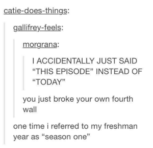 "Not sure if this was already posted but enjoy :]: catie-does-things:  gallifrey-feels:  morgrana:  I ACCIDENTALLY JUST SAID  ""THIS EPISODE"" INSTEAD OF  ""TODAY""  you just broke your own fourth  wall  one time i referred to my freshman  year as ""season one"" Not sure if this was already posted but enjoy :]"