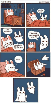 Cats, Ghost, and Never: CAT'S CAFE  BY MATT TARPLEY  122  EXCUSE  ME  WAH!  A G-GHOST  TII NEVER  FIND SOMEONE  LIKE ME  AHH! YOURE  NOTA GHOST  WAIT A G-GHOST!