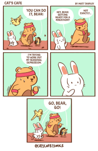 catscafecomics:  SAD Bear. Dealing with that seasonal depression blues with a little help!: CAT'S CAFE  BY MATT TARPLEY  YOU CAN DO  IT, BEAR!  NOT  EXACTLY...  HEY, BEAR!  GETTING  READY FOR A  MARATHON?  )지  I'M TRYING  TO WORK OUT  MY SEASONAL  DEPRESSION  GO, BEAR,  GO!  CATSCAFECOMICS catscafecomics:  SAD Bear. Dealing with that seasonal depression blues with a little help!