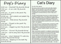 """Bones, Cats, and Dank: Cat's Diary  Dog's Diary  Day 983 of My Captivity  8:00 am Dog food My favorite thing  My captors continue to taunt me with bizarre little dangling  7:30 am A car ride! My favorite  objects. They dine lavishly on fresh meat, while the other  inmates and I are fed hash or some sort of dry nuggets  Although I make my contempt for the rations perfectly clear  7:40 am A walk in the park My  l nevertheless must eat something in order to keep up my  strength.  favorite thing!  The only thing that keeps me going is my dream of escape. In  10:30 am Got rubbed and petted My  an to them, I once again vomit on the carpet  Today decapitated a mouse and dropped its headless body at  favorite thing!  their feet. Ihad hoped this would strike fear into their hearts  12:00 pm Milk bones My favorite  since this clearly demonstrates my capabilities. However, they  merely made condescending comments about what a """"good little  hunter"""" I am, Bastards!  1:00 pm Played in the yard My  There was some sort of assembly of their accomplices tonight.  favorite thing!  I was placed in solitary confinement for the duration of the  event. However, could hear the noises and smell the food. I  3:00 pm Wagged my tail My favorite  overheard that my confinement was due to the power of  allergies."""" must learn what this means, and how to use it to  s oo pm my advantage  successful in an attempt to assassinate one  Dinner! My favorite thing.  Today was almost of my tormentors by weaving around his feet as he was walking  7:00 pm Got to play ball My favorite  must try this again tomorrow, but at the top of the stairs  am convinced that the other prisoners here are flunkies and  8:00 pm Wow! Watched TV with the  snitches. The dog receives special privileges. He is regularly  released, and seems to be more than willing to return. He is  people' My favorite thing!  obviously retarded. The bird must be an informant. I observe  11:00 pm Sleeping on the bed My  him communicating with the g"""