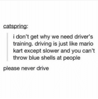 Bad, Driving, and Mario Kart: catspring  i don't get why we need driver's  training. driving is just like mario  kart except slower and you can't  throw blue shells at people  please never drive Tag a bad driver