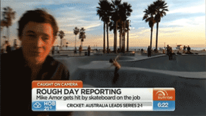 cricket-australia: CAUGHT ON CAMERA  ROUGH DAY REPORTING  Mike Amor gets hit by skateboard on the job  CRICKET: AUSTRALIA LEADS SERIES 2-1  6:22