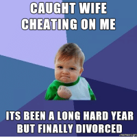Cheating Wife Memes: CAUGHT WIFE  CHEATING ON ME  ITS BEEN A LONG HARD YEAR  BUT FINALLY DIVORCED  Comm
