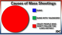 """crazy people: Causes of Mass Shootings  GUNS  GUNS WITH """"SILENCERS  CRAZY PEOPLE WHO  DON'T FOLLOW THE  LAWS ANYWAY  EDC"""