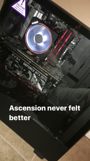 Desk, Never, and Ascension: CAUTION  TEMPERED GLASS  HANDLE WITH CARE  AMDA  EVGA I GEFORCE RTX 2070  USe3.2  FCCEX  Ascension never felt  better  G SKILL  ........... ......***.*  ... ........... ..  Hyper M.2  iper My first pc built. My desk isn't up yet.