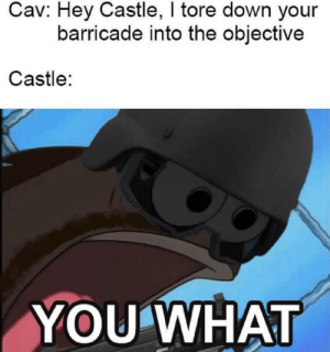 Castle, Big, and Down: Cav: Hey Castle, I tore down your  barricade into the objective  Castle:  YOU WHAT Big oof