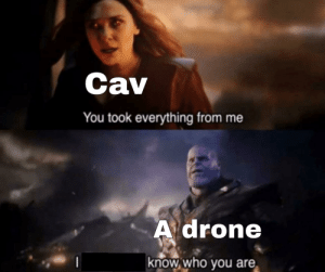 Apparently, Drone, and Memes: Cav  You took everything from me  A drone  know who you are Apparently the main subreddit doesn't allow memes :(