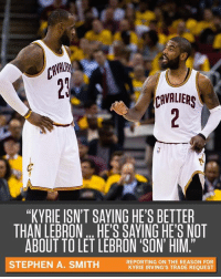 "A source told Stephen A., ""Kyrie knows he's a franchise-caliber talent. He wants to be treated like it."": CAVAI  CAVALIERS  ""KYBIE ISN'T SAYING HE'S BETTER  THAN LEBRON HE'S SAYING HE'S NOT  ABOUT TO LET LEBRON 'SON' HIM.""  19  STEPHEN A. SMITH  REPORTING ON THE REASON FOR  KYRIE IRVING'S TRADE REQUEST A source told Stephen A., ""Kyrie knows he's a franchise-caliber talent. He wants to be treated like it."""